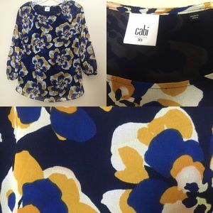 CAbi 3426 Lydia Floral Blue Chiffon Blouse Top XS